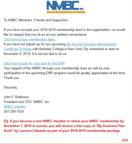 NMBC Membership requested for 2018-2019