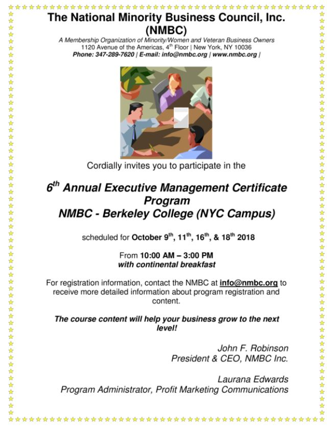 6th Annual Executive Management Certificate Program The National