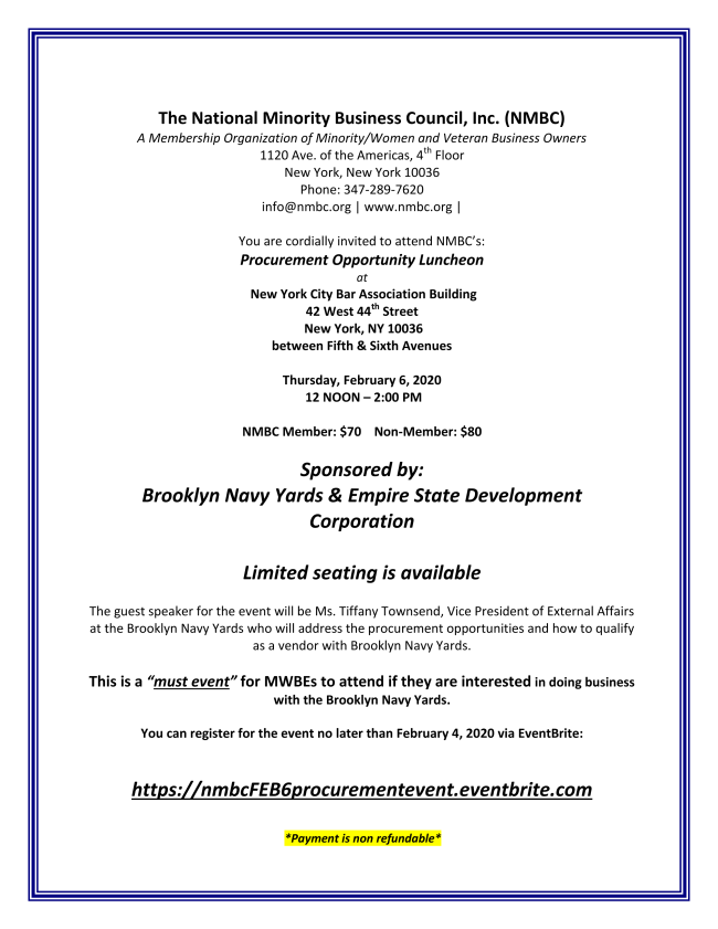 NMBC Luncheon with Brooklyn Navy Yards