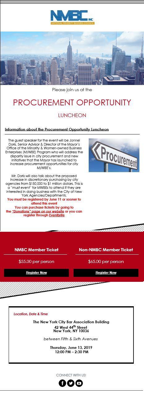 NMBC Procurement Opportunity Luncheon – June 13, 2019